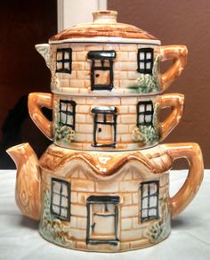 "Vintage Cottage Nesting 3 Piece Teapot Set ! Norcrest 6 3/4"" Tall X 6"" Wide ! picclick.com"