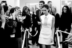 Victoria Beckham at the flagship with NM's Jim Gold.