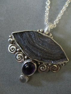 One of a Kind Sterling Silver Druzy, Amethyst, Moonstone Spiral Statement Pendant