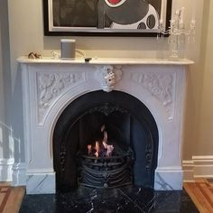 Fireplace With Custom Gas Burner With Faux Coal