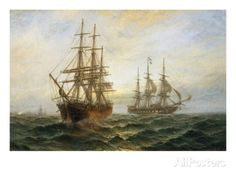 A Frigate Outward Bound Off Shoeburyness Giclee Print by Claude T. Stanfield Moore at AllPosters.com