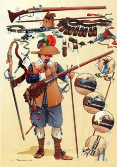 English Civil War Infantry arms and equipment Renaissance, Military Art, Military History, Thirty Years' War, Armadura Medieval, Landsknecht, Age Of Empires, Arm Armor, Modern Warfare
