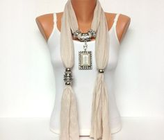 jewelry scarf cream