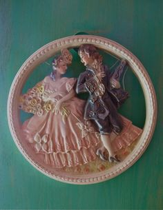 Chalkware Placque Wall Decor Kitsch 1950's Vintage by taffnie