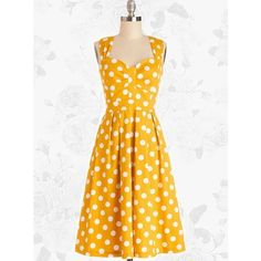 Yellow Retro Polka Dot 50s Style Vintage Rockabilly Swing Party Dress ($40) ❤ liked on Polyvore featuring dresses, white dresses, yellow dresses, vintage retro dresses, vintage cocktail dresses and yellow vintage dress