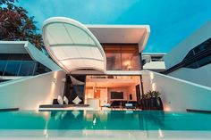 Each modern and whitewashed room comes with your own private infinity pool. fully-fitted kitchen, living and dining area