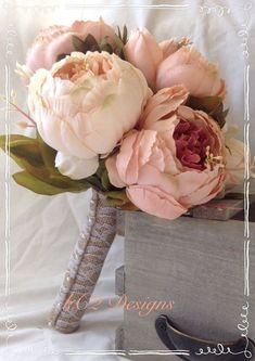 Perfect 4 boutiners♡♡♡ This is a stunning bridal bouquet! The blush and ivory silk peonies in this bouquet are amazingly soft to the touch and very life like! The bouquet shown has a lace covered b Peony Bouquet Wedding, Blush Bouquet, Peonies Bouquet, Bride Bouquets, Bridesmaid Bouquet, Bridal Bouquet Diy, Bridesmaids, Tulip Bouquet, Rustic Bouquet