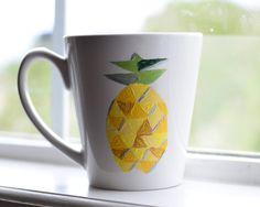 Pineapple Coffee Mug - Geometric Unique Coffee Mug on Etsy, $14.00