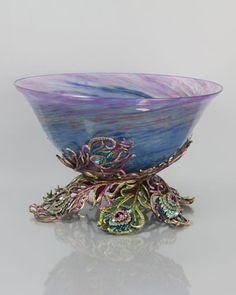 Charlotte Peacock Feather Glass Bowl by Jay Strongwater at Neiman Marcus.