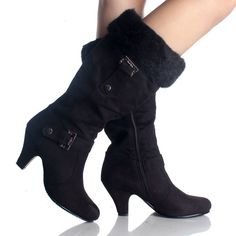 Womens Winter Boots Snow Black Fur Buckle Faux Suede Womens High Heels