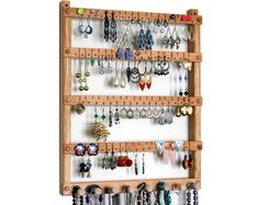 Toms Earring Holder with Necklace and Bracelet Jewelry Organizer made of Oak