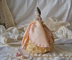 Antique Pin Cushion Doll Porcelain Half Doll Pink by cynthiasattic, $75.00