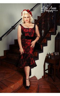 Deadly Dames - Folly Flair Mermaid Dress in Red with Black Rose Lace | Pinup Girl Clothing