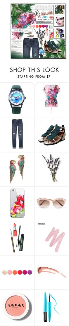 """Weekend Style ♥ ♥"" by av-anul ❤ liked on Polyvore featuring Abercrombie & Fitch, Elizabeth Cole, Gucci, Clinique, Urban Decay, Deborah Lippmann, LORAC, MAKE UP FOR EVER, happyhour and topset"