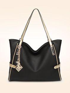 12305398757b Color Block Stylish Large Capacity Shoulder Bag Tote Purse
