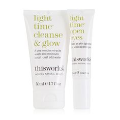 213878 This Works 2 Piece Light Time Collection QVC Price:£32.50 + P&P: £3.95   A two-piece skincare set from This Works comprising a Light Time Cleanse & Glow, for your entire complexion and Light Time Open Eyes specifically formulated for the delicate eye contours. With vitamin-rich formulas and a wealth of natural ingredients this duo will help you look forward to your cleansing routine.