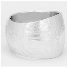 "Brushed Metal Bracelet Beautiful chunky, silver bangle bracelet, brushed metal, lightweight, measures approximately 2.25"" H, 2.625"" D, fits up to 8"" wrist. Perfect accessory for any wardrobe Farah Jewelry Jewelry Bracelets"