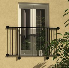 """The Malham balcony. A stunning combination of steel and glass. """"Make the most of your view! Glass Juliet Balcony, Juliette Balcony, French Balcony, Balcony Railing, Octopus, Tuscany, Facade, Home Improvement, Iron"""