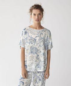 Blue Indian print trousers - NIGHTWEAR | Oysho United Kingdom