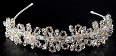 1059A. Silver tiara decorated with golden shadow and ab Swarovski crystals.