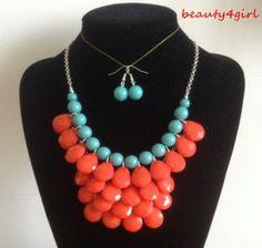 Teardrop Bubble Bib Statement Necklace Earrings Set by beauty4girl, $5.99
