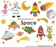 Space watercolor clip art by SandraGraphicDesign on @creativemarket