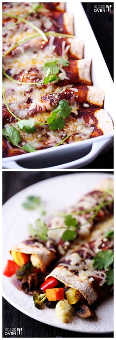 Roasted Vegetable Enchiladas -- roast up any veggies you have on hand and add them to these delicious enchiladas! | gimmesomeoven.com #mexican #recipe
