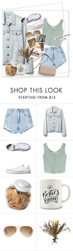 """""""Friends Time"""" by genovevajc ❤ liked on Polyvore featuring Nobody Denim, Gap, Converse, OXO, Polaroid, Ray-Ban, Band of Outsiders, Abigail Ahern, White Label and Kate Spade"""