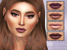 A new lipstick design that comes in 28 colors! Available for sims aged teen to elder and has its own thumbnail.  Found in TSR Category 'Sims 4 Female Lipstick'