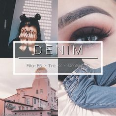 """1,067 curtidas, 47 comentários - vsco themes (VSCO.themes) no Instagram: """"DENIM #vtpaid - This is a super super super pretty filter, gives photo a slight pink tint so not…"""""""