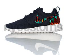 Free Shipping Nike Roshe Run Black White Aztec by NYCustoms