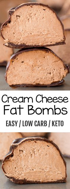 These low carb and keto health friendly chocolate or vanilla cream cheese bombs are easy to make and impossible to resist for dessert! # Desserts fruit Cream Cheese Bombs - The BEST Low Carb Keto Treats Keto Friendly Desserts, Low Carb Desserts, Health Desserts, Easy Recipes For Desserts, Diet Desserts, Cheese Bombs, Cream Cheese Fat Bombs, Low Carb Chocolate, Chocolate Recipes