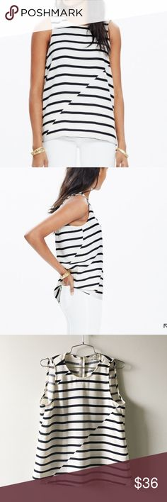 Madewell striped top A fresh offset stripe design, zip back and cool cocoon shape give this tank that instant-outfit factor we love.    True to size. Poly. Machine wash. Madewell Tops Blouses