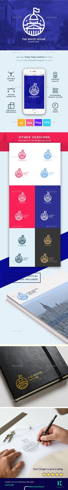 The White House  Business Consultant, Real Estates, Agency, Creative Modern Logo Template — Vector EPS #corporate #startup • Available here ➝ https://graphicriver.net/item/the-white-house-business-consultant-real-estates-agency-creative-modern-logo-template/20546494?ref=pxcr