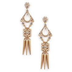 """Gold Drop Earrings Sole Society """"crystal dagger earrings"""", $35"""