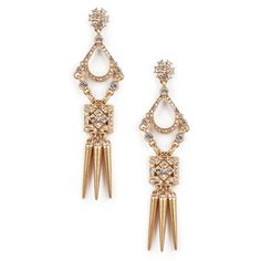 "Sole Society ""crystal dagger earrings"", $34.95"