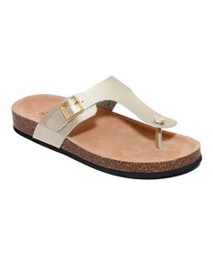 73cb6592ddf Take a look at this Amanda Blu Champagne Kenna Metallic Knot T-Strap Sandal  today
