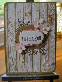 """By Peg Coombes, featuring Stampin' Up! products Stamp Sets: """"Hardwood"""", Petite Petals"""", """"So Very Grateful"""", and Circel Card Thinlits Die"""