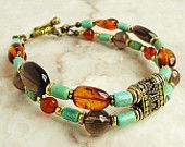 Baltic Amber, Tibetan Turquoise, Smoky Quartz - Double Strand Bracelet, Antique Gold Brass