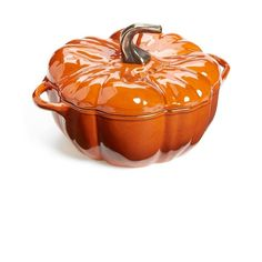 Staub 3 1/2 Quart Cast Iron Pumpkin Cocotte ($180) ❤ liked on Polyvore featuring home, kitchen & dining, cookware, burnt orange, staub, cast iron cookware, castiron cookware, staub cocotte and staub cookware