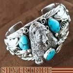 Allen Chee Native American Navajo Sleeping Beauty Turquoise and Silver Bear Bracelet