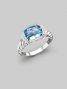 David Yurman - Blue Topaz, Diamond & Sterling Silver Ring - Saks.com