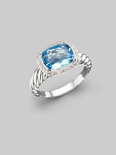 David Yurman - Blue Topaz, Diamond & Sterling Silver Ring - Saks.com