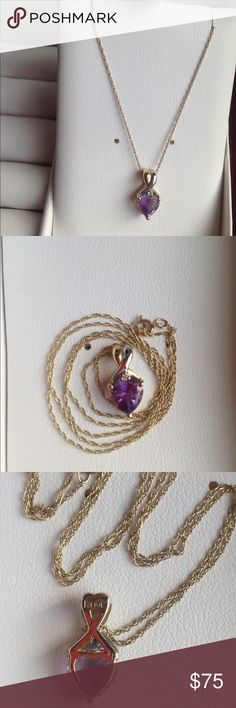 """10k amethyst necklace Real 10k yellow gold amethyst necklace with genuine amethyst and tiny diamond. Chain is 17"""" long. From Kays. Jewelry Necklaces"""