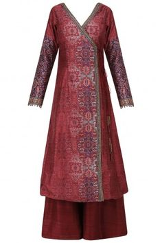 Ekaya Maroon Handwoven Angrakha Tunic with Palazzo Pants Indian Frocks, Indian Dresses, Indian Outfits, Kurta Designs Women, Blouse Designs, A Line Kurti, Kurti Designs Party Wear, Mode Hijab, Indian Designer Wear