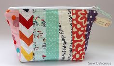 Sew Delicious: Scrappy Fabric Strip Zipper Pouch - Tutorial