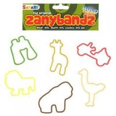 Zany Bandz Shaped Rubber Bands Bracelets 24Pack Safari  These Bands are ZANY!!  Features : 12 per pack *Return to original shape after use *Gorilla Safari Jeep Ostrich Lion Giraffe Binoculars *Bold and Bright *Colors May Vary