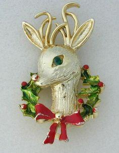 Reindeer Christmas Brooch/Pin