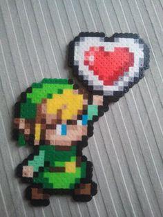 Link with Heart Container Perler Beads - Legend of Zelda Perler Beads, Perler Bead Art, Fuse Beads, Pixel Art, Pearler Bead Patterns, Perler Patterns, Art Perle, Pixel Beads, 8bit Art