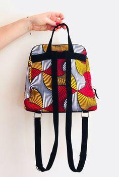 d4e186b552 Fashion backpack wax print african print ankara print ethnic geometric  yellow, red print backpack for woman